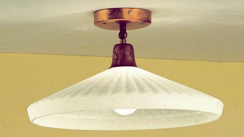 Plafoniera Ottone Vetro : Plafoniera ottone con vetro negozio illuminazione siena firenze